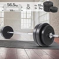 Physionics Barra de musculación de Pesas 56.5 kg