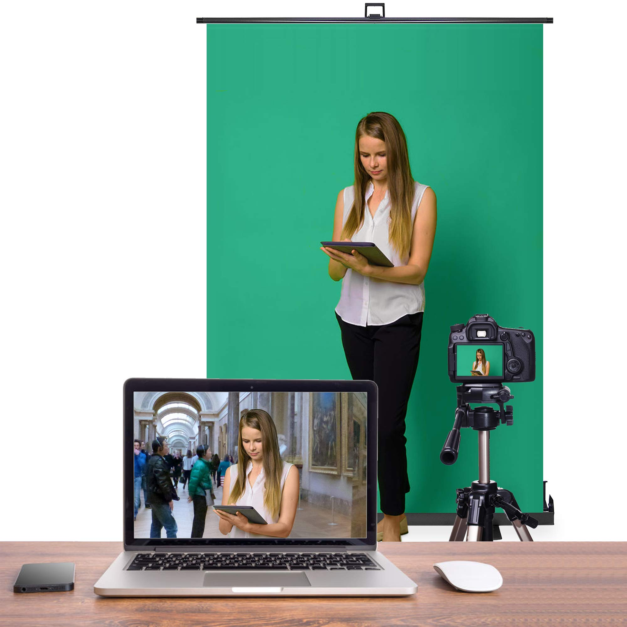 KHOMO GEAR Jumbo Size 55'' x 82'' Green Screen Collapsible Pull-Up Extra Large Streaming Portable Backdrop Setup with Auto-Locking Frame by KHOMO GEAR (Image #6)