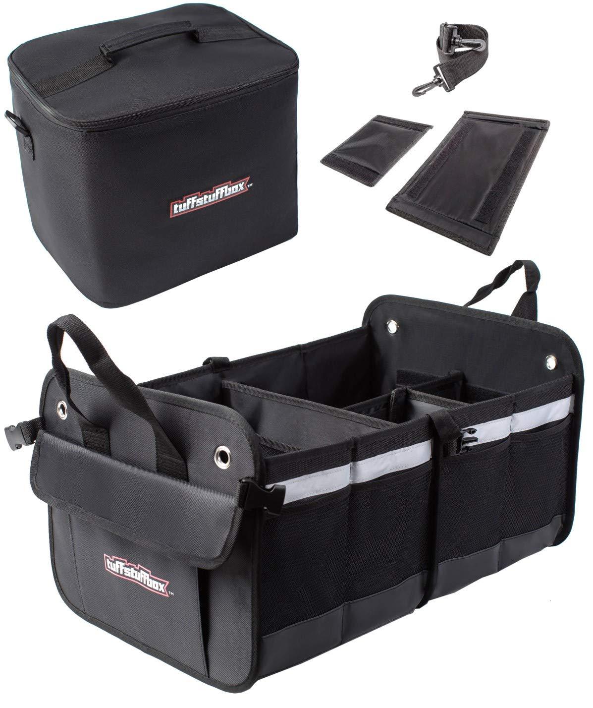 Premium Car Trunk Organizer | Cooler Insulated Leakproof Bag | SUV, Truck Bed Storage Accessories | Back seat Organizers | Car Accessories for Women | Automotive Stuff Tuff Stuff Box TSB001