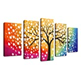Amazon Price History for:Canvas Wall Art Tree of Life Abstract Painting Framed Ready to Hang - 5 Piece Contemporary Pictures Polychrome Background Colorful Sky Blossom Sunset Tree Artwork Canvas For Bedroom Living Room