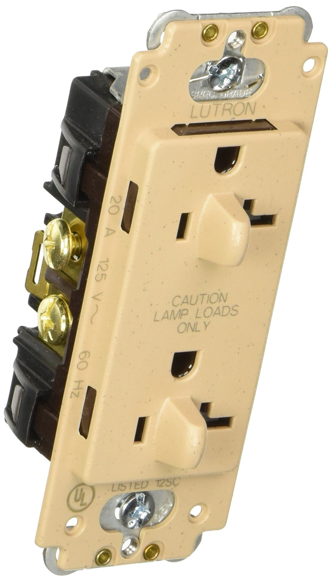 Lutron SCR-20-DDTR-MS Satin Colors 20-Amp Dual Dimmable Tamper Resistant Receptacle, Mocha Stone