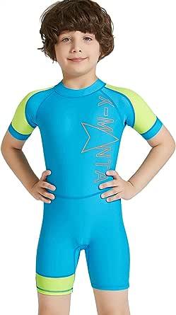 DIVE & SAIL Kids UV Sun Protection Swimwear One Piece Short Sleeve Swimsuit Diving Sunsuit Stretch Shorty Suit Blue XL