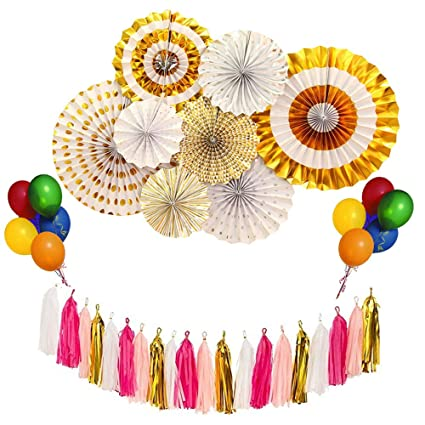Amazon party decorations supplies kit gold paper fan flowers party decorations supplies kit gold paper fan flowers tissue paper tassels garland colorful latex balloons mightylinksfo