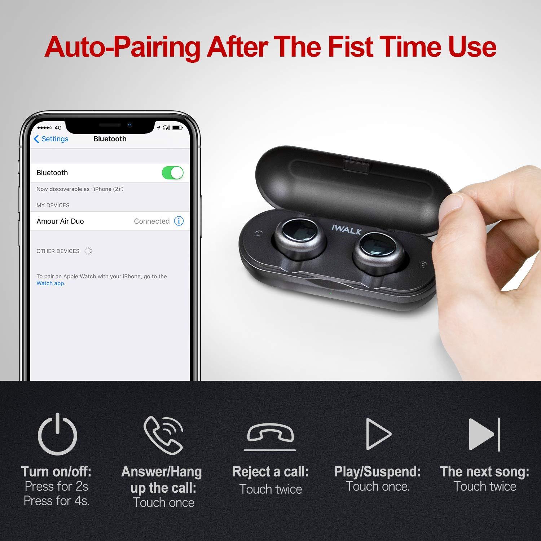 iWALK Auriculares Bluetooth Deportivos Verdaderos TWS Mini Auriculares Inalámbricos Estéreo HiFi con Caja de Carga para iPhone y Otros Smart Phones: ...