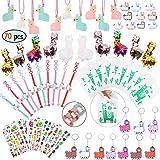 Llama Party Favors Supplies - Llama Bracelet Ring Necklace Keychains Hair Clips Puffy Sticker Gift Bag Alpaca Toys Kids Birthday School Prizes Rewards(60 pcs)