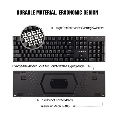 Amazon.com: MoKo Mechanical Gaming Keyboard, 9 Colors Preset LED Backlit Keyboard Black Switches with 104 Keys, Linear & Quiet, USB Wired Keyboard with ...