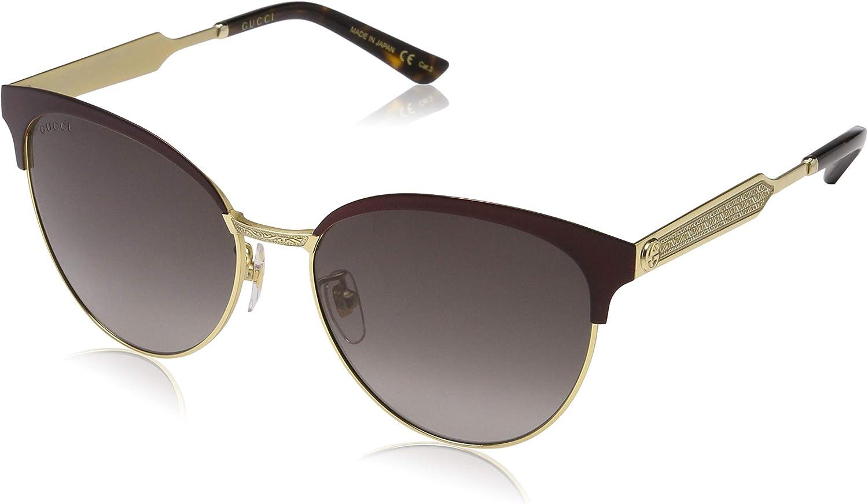 Gucci GG0074S 004 Gafas de sol, Rojo (Burgundy/Grey), 57 para Mujer