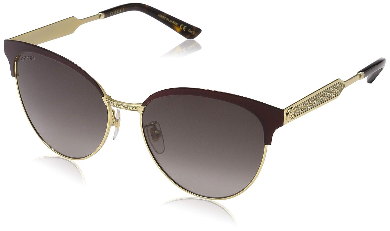 Gucci GG0074S 004, Gafas de sol para Mujer, Rojo (Burgundy/Grey) 57