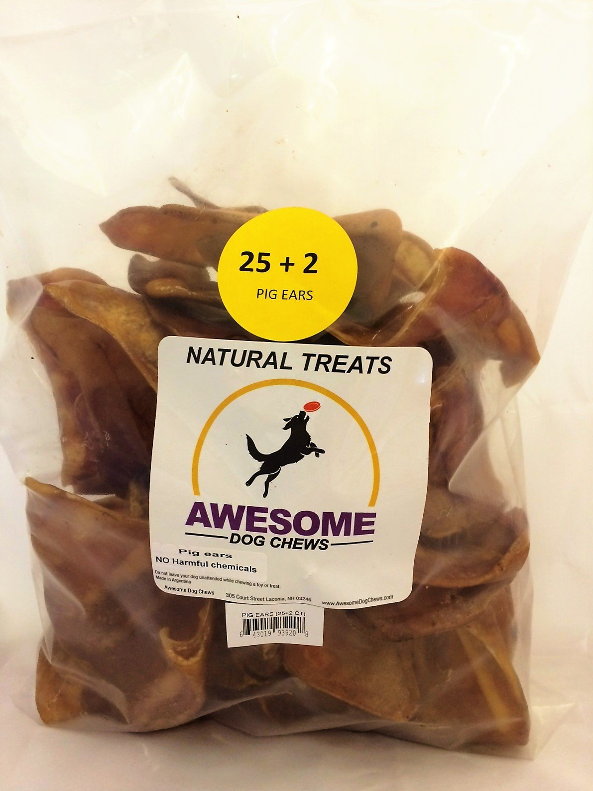 100% Awesome Dog Chews All Natural Pig Ears 25 + 2 FREE Count Value Bag - FDA / USDA Inspected Through a Registered FDA Plant