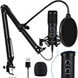 【2020 Upgraded】 USB Condenser Microphone for Computer, Great for Gaming, Podcast, LiveStreaming, YouTube Recording…