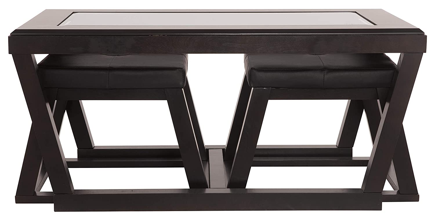 Ashley Glass Coffee Table.Ashley Furniture Signature Design Kelton Coffee Table With 2 Stools Cocktail Height 3 Piece Set Espresso Brown With Glass Top