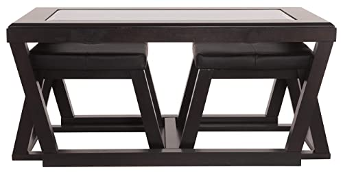 Signature Design by Ashley – Kelton Coffee Table with 2 Stools, 3 Piece Set, Espresso Brown with Glass Top