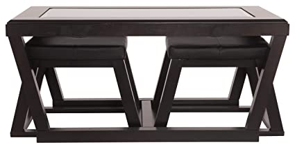 Ashley Furniture Signature Design Kelton Coffee Table With 2 Stools Cocktail Height 3 Piece Set Espresso Brown With Glass Top