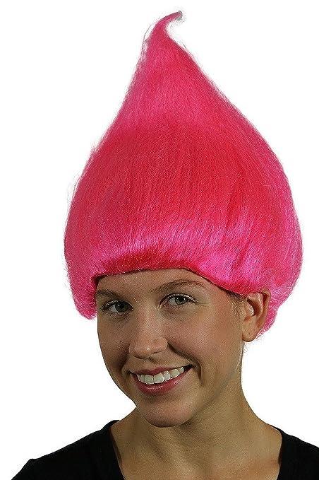 Traje de payaso color rosa Troll adulto Peluca Gnome equipo de la muñeca de las mujeres