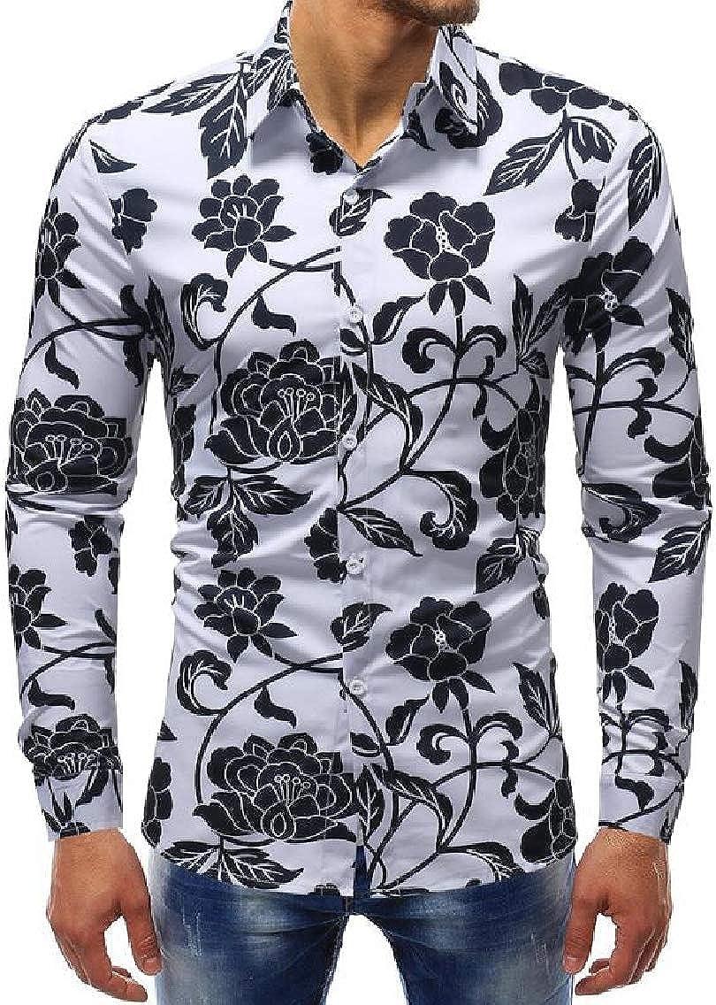 YYG Mens Long Sleeve Printed Casual Slim Button Down Shirt Blouse