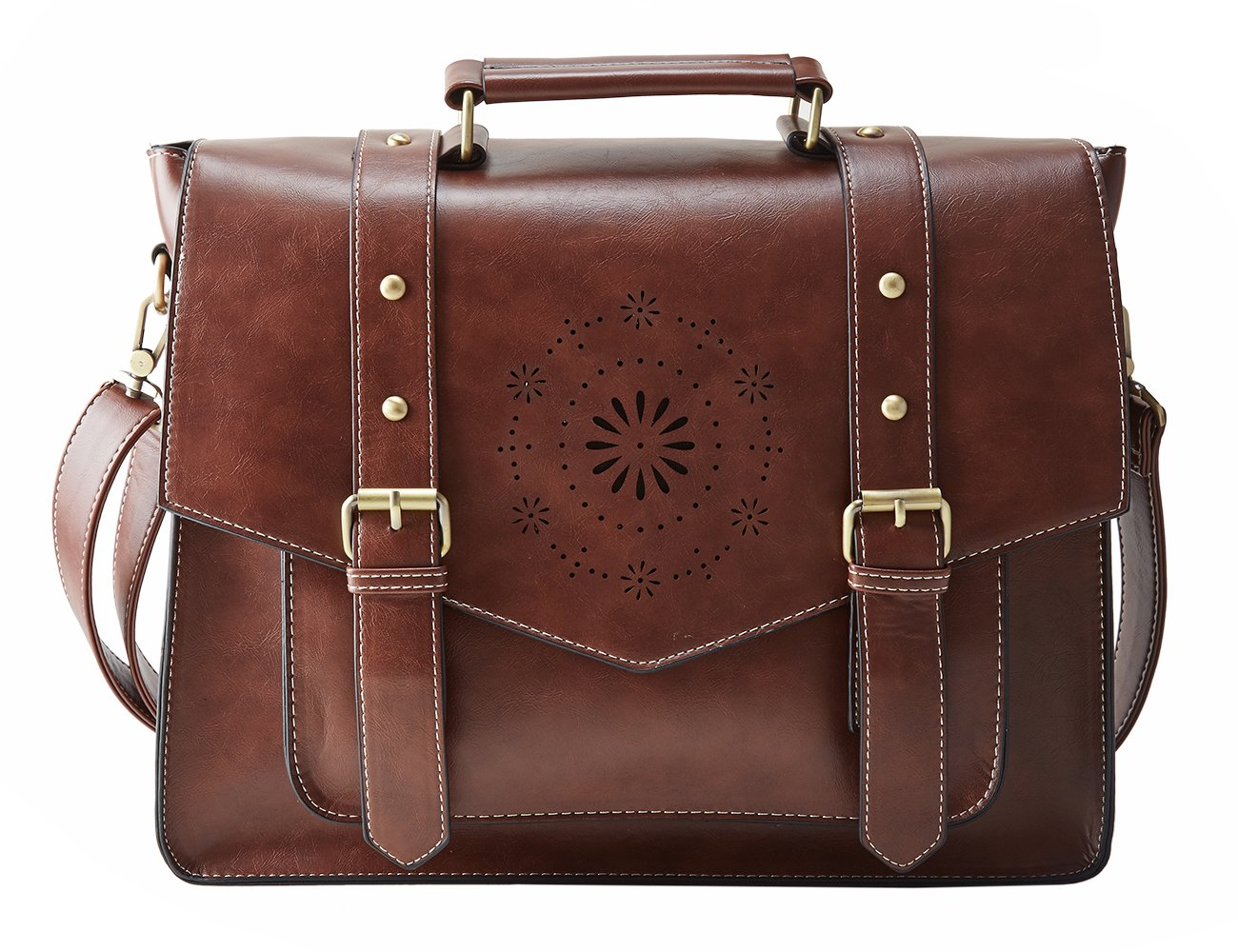 ECOSUSI Women's Retro PU Leather 14'' Laptop Crossbody Briefcase Messenger Bags, Brown