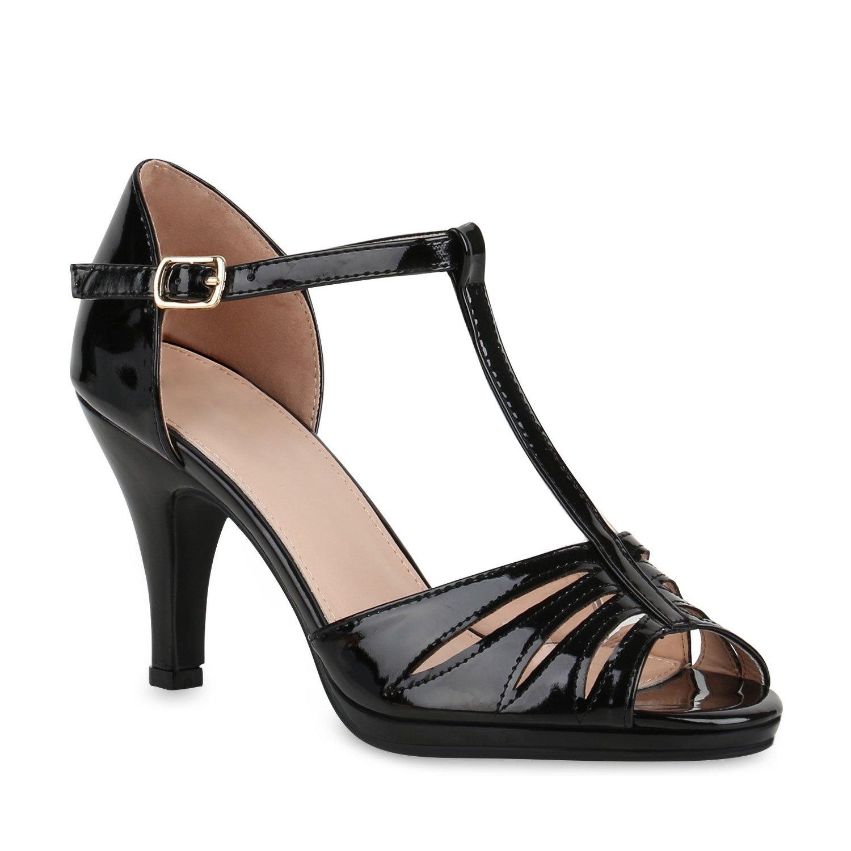 Stiefelparadies Damen Riemchensandaletten mit Pfennigabsatz Strass T-Strap Flandell Schwarz TStrap Lack