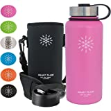 Smart Flask Stainless Steel Water Bottle, Wide Mouth, Vacuum Insulated, Includes Carrying Pouch with Shoulder Strap, Rugged Leakproof Stainless Steel Lid, and Flip Top Coffee Lid
