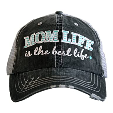 MOM LIFE IS THE BEST LIFE Women s Distressed Grey Trucker Hat (Mint ... fb4ec207a05