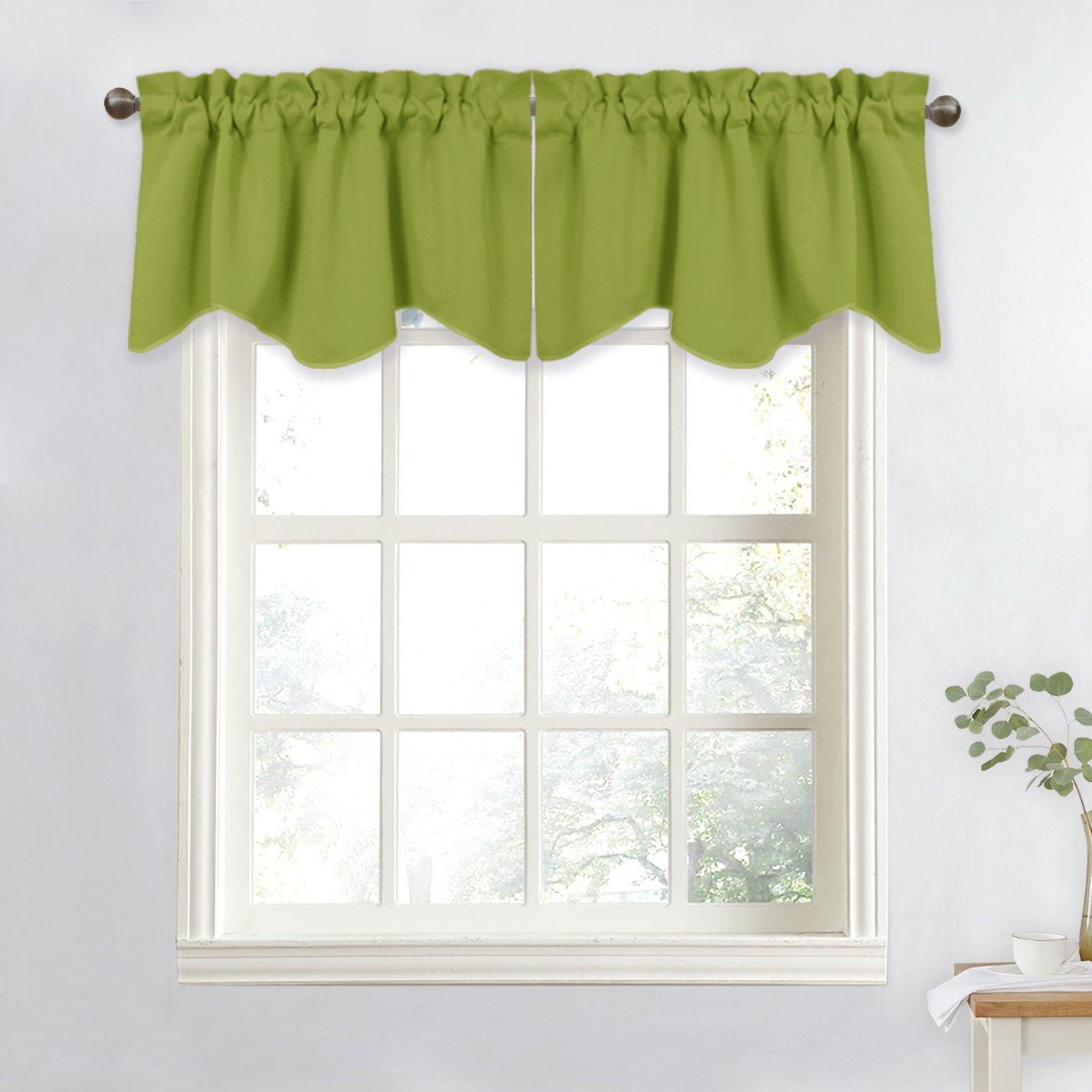 NICETOWN Window Treatment Room Darkening Valance - Kitchen Curtain 52-inch by 18-inch Scalloped Valance (Green, 1 Panel)