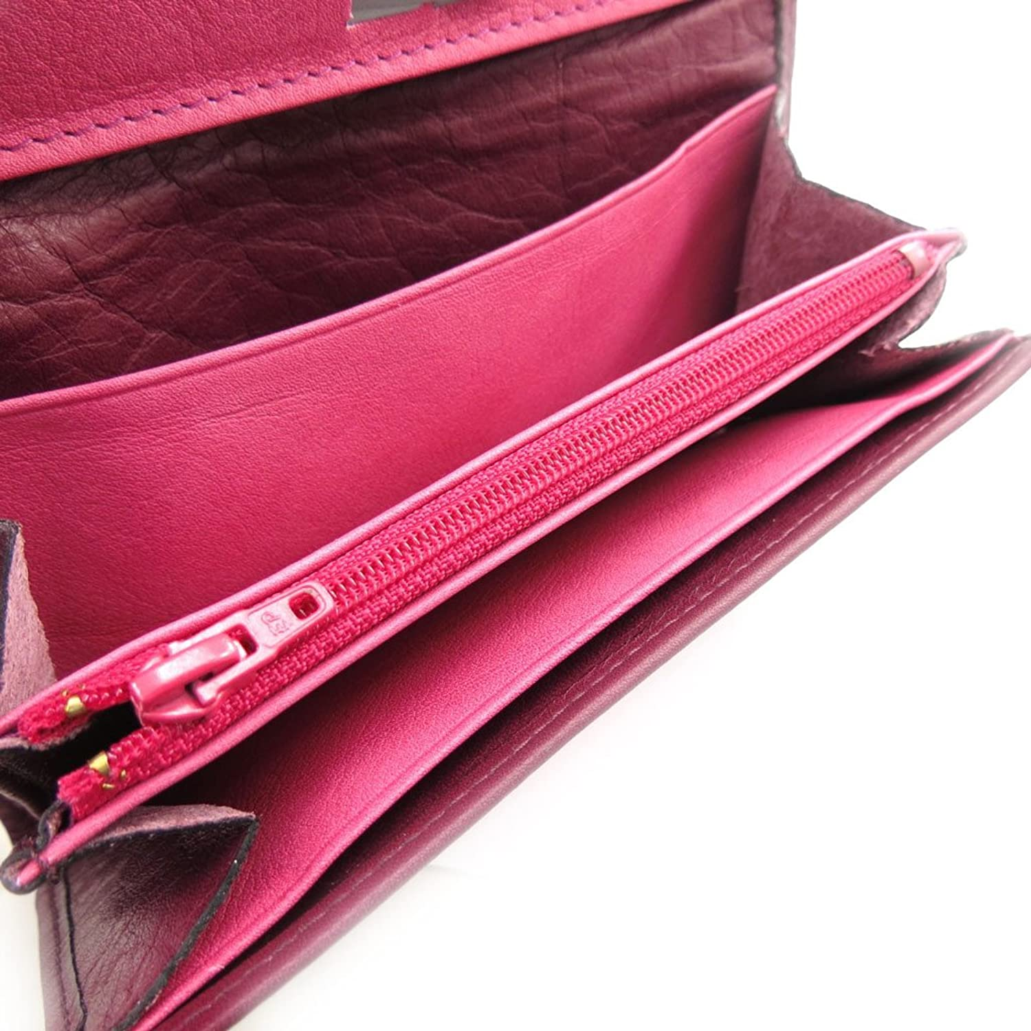 "Large leather wallet ""Frandi"" pink purple."