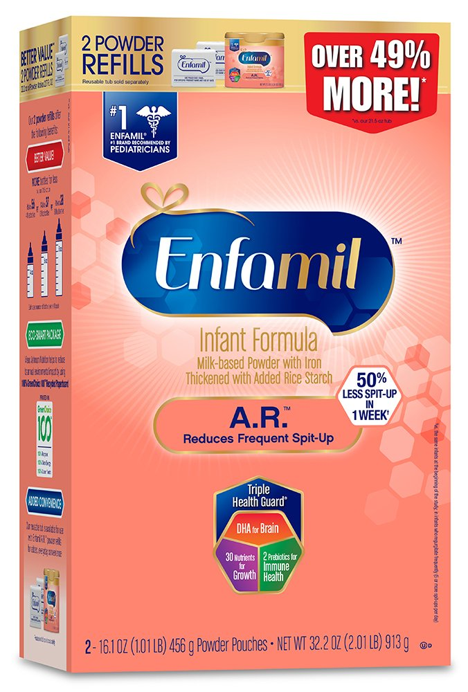 Enfamil A.R. Infant Formula - Clinically Proven to reduce Spit-Up in 1 week - Powder Refill Box, 32.2 oz