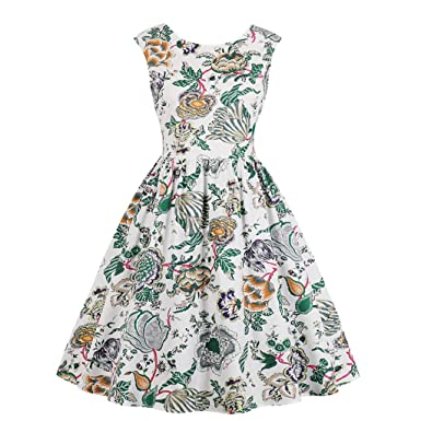 8d531a7b98c CieKen 2019 Women s Boat-Neck Floral Sleeveless Short Fit Flare Dress at Amazon  Women s Clothing store