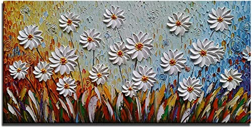 Azure Art-3D Oil Painting on Canvas Modern Large Wall Art White Daisy Wall Pictures Abstract Art Stretched Framed Artwork Paintings for Living Room Bedroom Dinning Room Home Office Wall Decor 2448