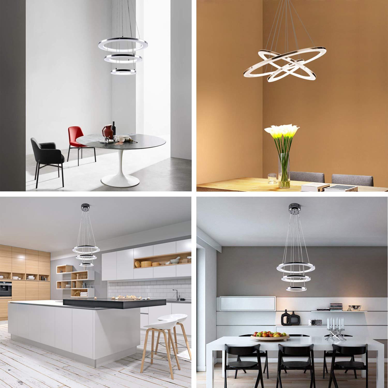 ZMH Moderne LED Pendelleuchte esstisch 57W Led 3-Ring led dimmbar Fernbedienung H/ängeleuchte Wohnzimmer Deckenleuchte Schlafzimmer H/öhenverstehbar H/ängelampe Kronleuchter