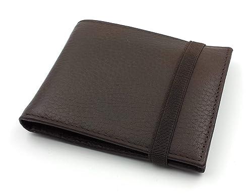 FJR-ArtPiel - Cartera, billetera, tarjetero, monedero tipo americano Piel Ubrique con cierre de elástico - Alta Calidad - Marrón