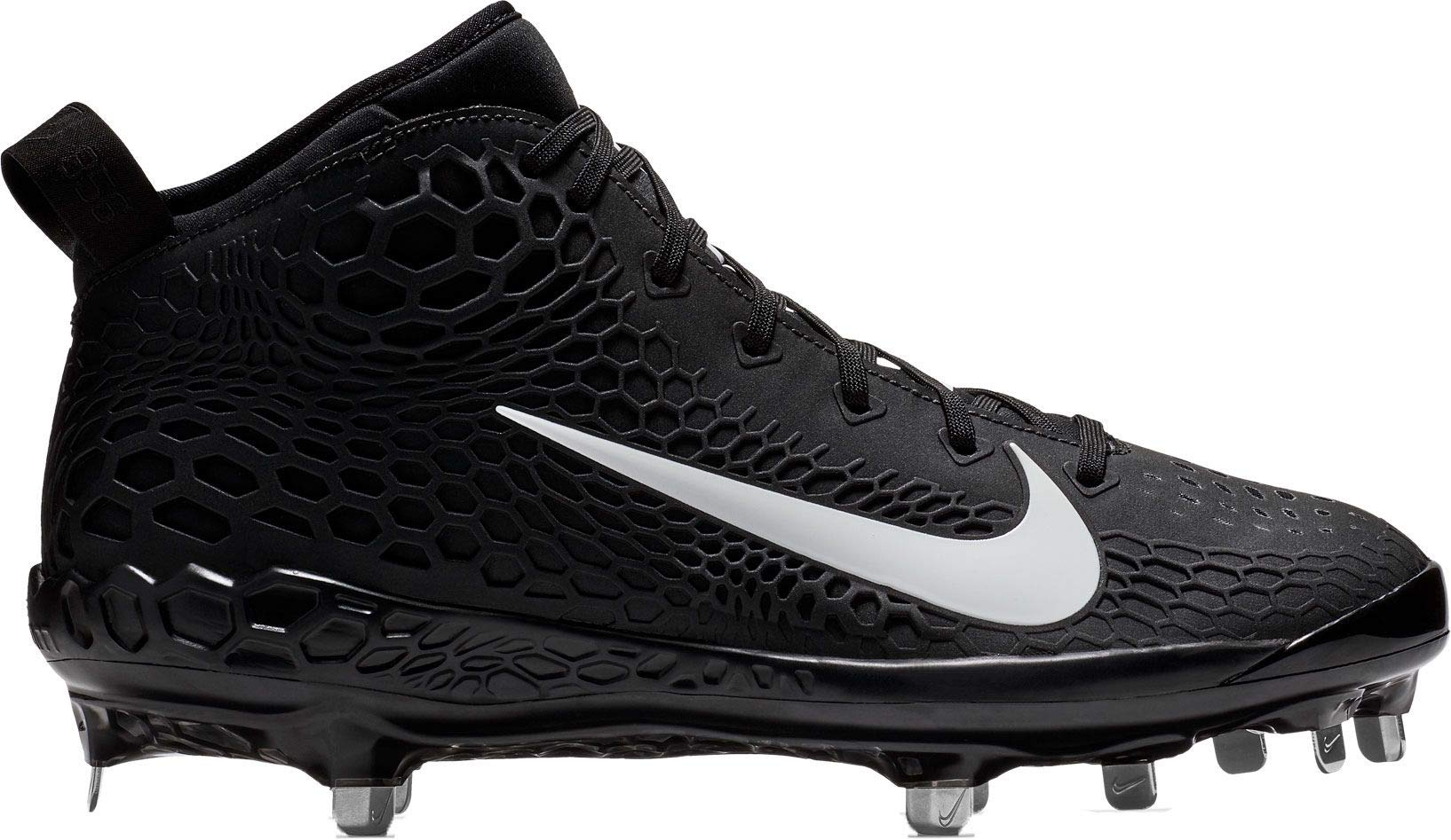 NIKE Men's Force Zoom Trout 5 Metal Baseball Cleats (Black/White, 9.5 M US)