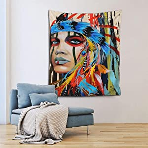 GONGHE Tapestry Wall Hanging Native American Feathered Pride Nature Home Decorations for Living Room Bedroom Dorm Decor in 60x51 Inches