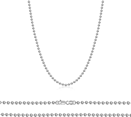 """Italian Sterling Silver Large Ball Chain Necklace Length 26/"""""""