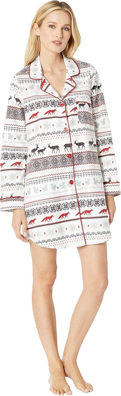 BedHead Womens Long Sleeve Classic Notch Nightshirt