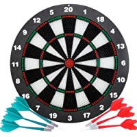 Safety Dart Board Set for Kids and Adults,16 Inch Soft Rubber Dart Board Game with 6 Darts for Outdoor/Indoor Family and…