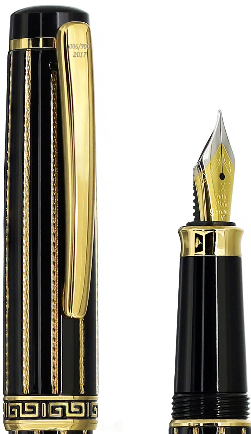 diamantato e placcato oro 18/K edizione limitata di 500/ Xezo fine penna stilografica nero smaltato incognito nero oro F