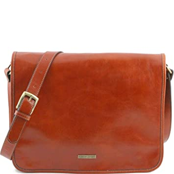 bc6624407148 Amazon.com  Tuscany Leather TL Messenger Two compartments leather shoulder  bag - Large size Honey  Tuscany Leather Official Store