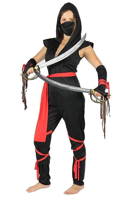 Foxxeo Sexy Traje de Ninja Negro para Damas - tamaño: XS ...