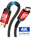 4K 60Hz HDMI Cable [6.6ft/2M], JSAUX HDMI 2.0 to HDMI High Speed 18Gbps 28AWG HDR 3D 2160p 1080p Braided Cord Compatible with Ethernet Audio Return(ARC),Fire TV, UHD TV, PC (Red)