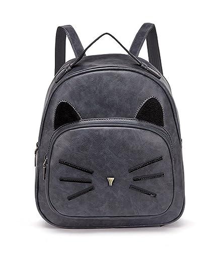 Women Mini Leather Backpacks Cute Cat Kids Girls Daypack Rucksack Small  Bags Grey f1b8f6e96c173
