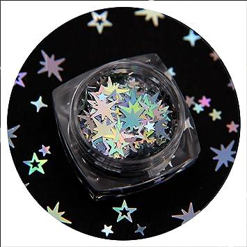 1boxOctagonal estrella del brillo Mezclas Hollow Star Nail Cruz de las lentejuelas de la estrella de los brillos del Decoración de uñas: Amazon.es: Belleza