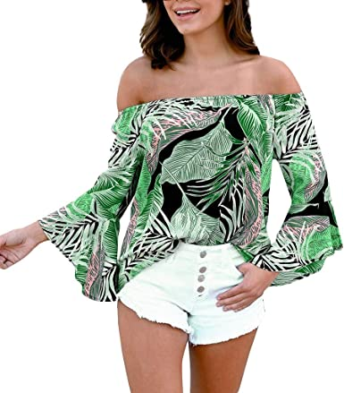 Reooly Top de Camisa de Playa con Mangas largas para Mujer Estampado Fuera del Hombro: Amazon.es: Ropa y accesorios