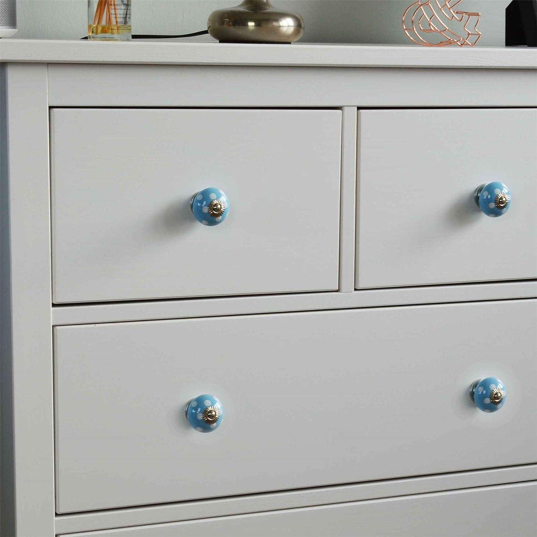 Dise/ño con Lunares Azul Claro//Blanco Cer/ámica Nicola Spring Tirador para cajones y armarios