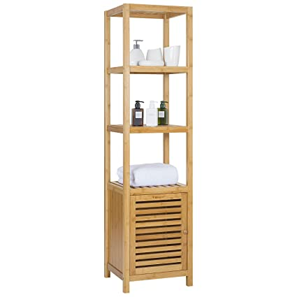ollieroo bamboo bathroom shelf 5 tier multi functional storage rack shelving unit size l14 - Bathroom Shelf Unit