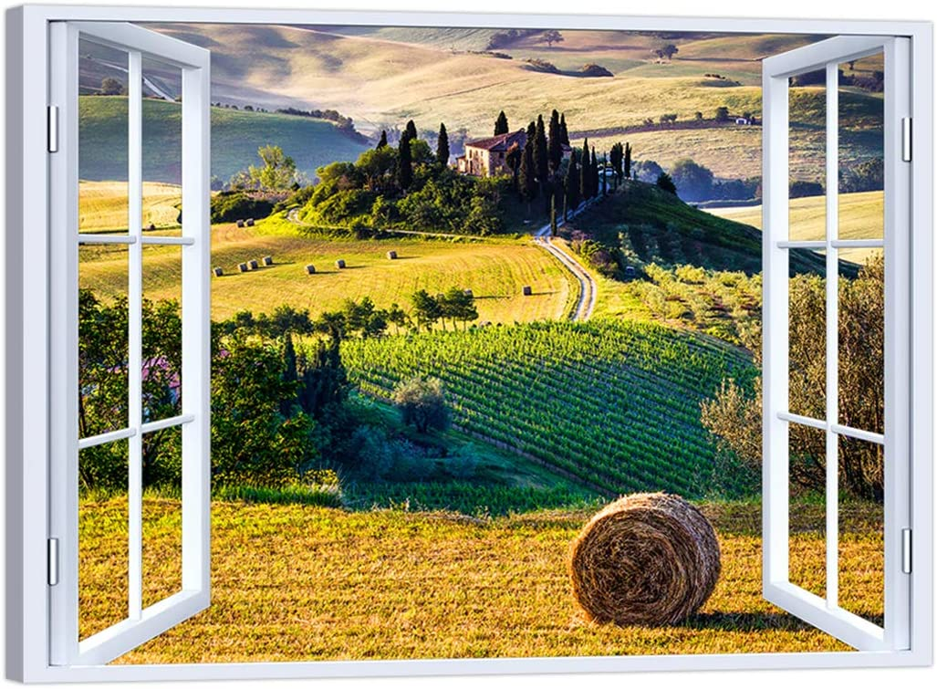 LuxHomeDecor - Cuadro con Ventana de Paisaje Toscana, 100 x 75 cm, impresión sobre Lienzo con Marco de Madera, decoración Moderna