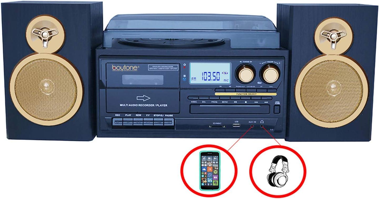 Refurb Boytone BT-28SPG 3-Speed Bluetooth Turntable System Front Loading CD//MP3