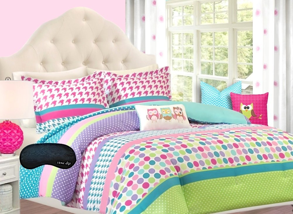 Adorable Girls Teen Kids OWL Bedding Comforter Set FULL QUEEN Polka Dot Geometric