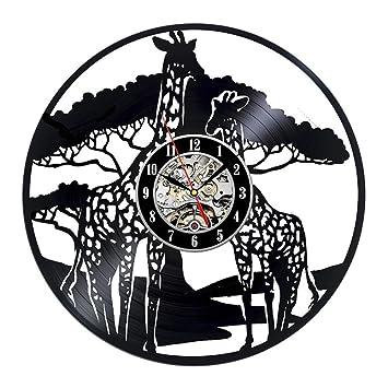 OOFAY Clock@ Discos De Vinilo Reloj De Pared Jirafa Familias Habitación Decoración Pared para Salon Habitacion Dormitorio Oficina Estudio Dibujos Animados ...