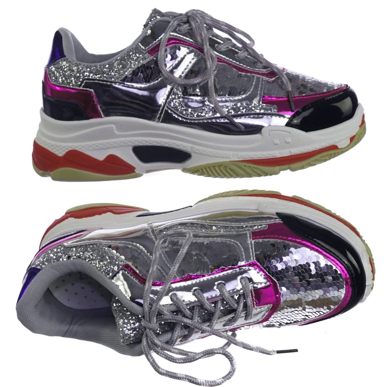 Aquapillar Metallic Glitter Sequins Fashion Daddy Sneaker w Heavy Rubber Outsole
