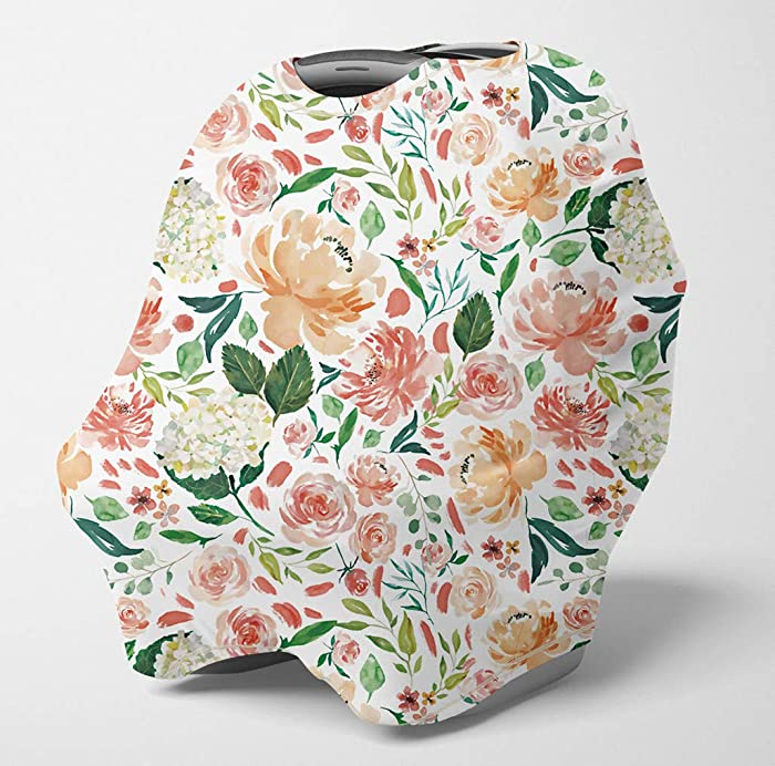 Nursing Cover Multi Use Breastfeeding Scarf - Baby Car Seat Covers, Infant Stroller Cover, Carseat Canopy for Girls (Secret Garden)